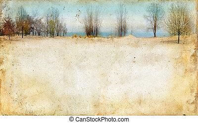 fond, long, grunge, lac, arbres
