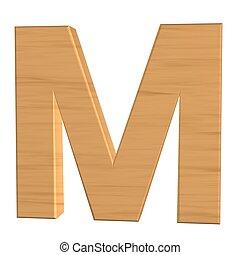 fond, m, isolé, bois, lettre, nouveau, blanc