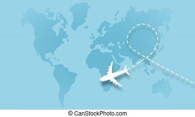 fond, monde, blanc, piste, animation, avion, behind., boucle, loin, bleu, voler, screen., vidéo, marques, carte, partir