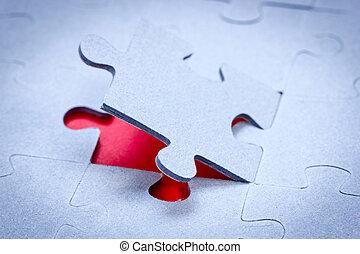 fond, morceau puzzle, révéler, rouges