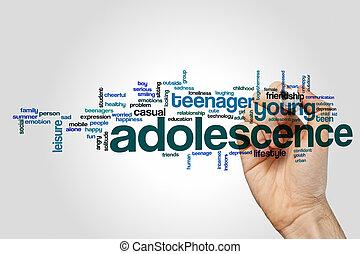 fond, mot, nuage, concept, adolescence, gris