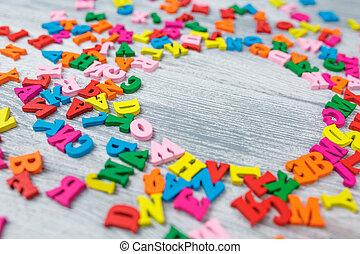fond, multicolore, lettres, gris, bois