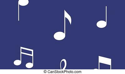 fond, musique, bleu, notes, modèle