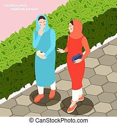 fond, musulmans, moderne, femmes