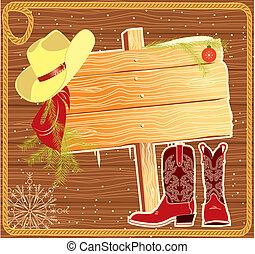 fond, noël, panneau affichage, vecteur, cow-boy, cadre, hat.