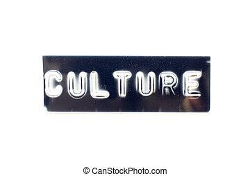 fond, noir, blanc, bannière, gaufré, mot, culture, lettre