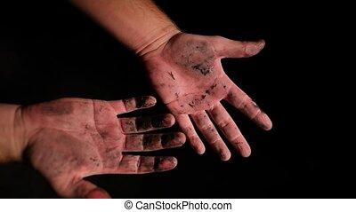 fond, noir, main, humain