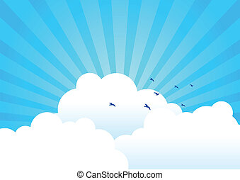 fond, nuages
