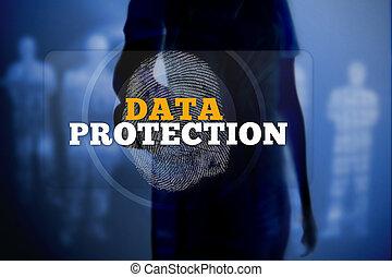 fond, numérique, données, bleu, toucher, bouton, empreinte doigt, protection, femme, silhouette