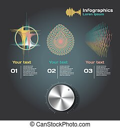 fond, ondes sonores, infographics, sombre