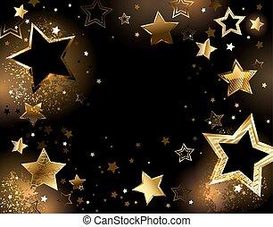 fond, or, étoiles, noir