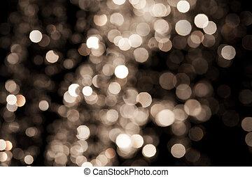 fond, or, fête, élégant, lumières, résumé, arrière-plan., bokeh, defocused, étoiles, noël