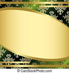 fond, or, vendange, vecteur, vert, décorations