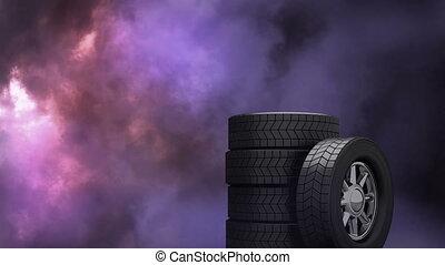 fond, orage, roues
