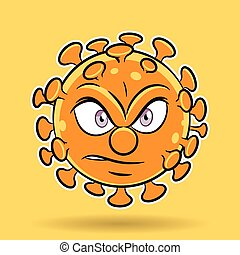 fond, orange, dessin animé, coronavirus, fâché