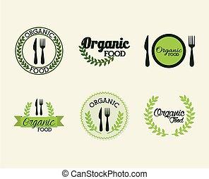 fond, organique, blanc, ensemble, lettrage, nourriture