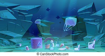fond, plancher, mer, déchets, plastique, océan, déchets ménagers