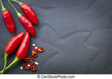 fond, poivres, piment, rouges, nourriture