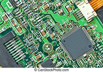 fond, printed-circuit, macro, moderne, planche, composants, électronique