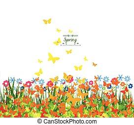 fond, printemps, papillons