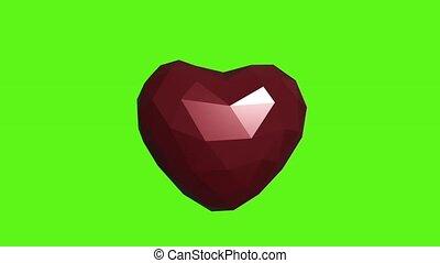 fond, render, animation, vert, 3d, coeur, rouges