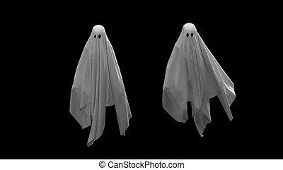 fond, render, blanc, noir, 3d, voler, fantôme