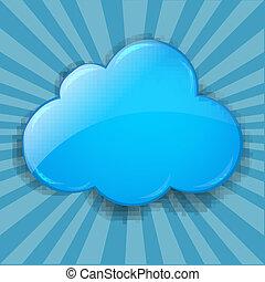 fond, retro, nuage, éclater