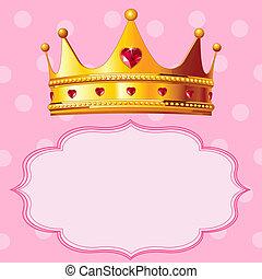 fond, rose, couronne, princesse