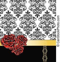 fond, roses, floral, romantique, vendange