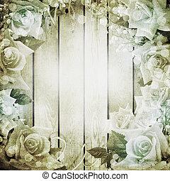 fond, roses, mariage, romantique, vendange