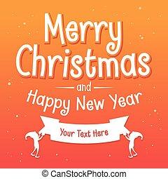 fond, salutations, joyeux, année, nouveau, noël, heureux