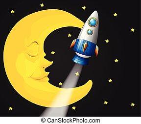 fond, scène, fusée, lune