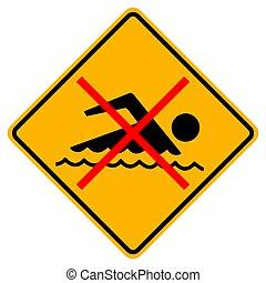 fond, signe, interdit, nager, blanc