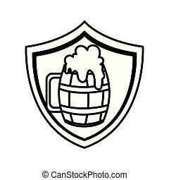 fond, silhouette, bière, bois, grande tasse, blanc, bouclier