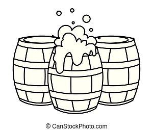 fond, silhouette, bière, bois, grande tasse, blanc