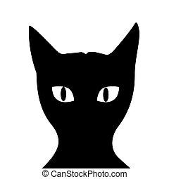 fond, silhouette, chat, blanc, noir