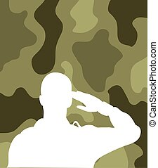 fond, silhouette, saluer, soldat, camouflage