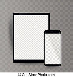fond, smartphone, transparent, tablette, mockup