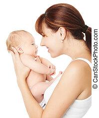 fond, sur, nouveau né, tenue, mère, bébé, blanc, heureux