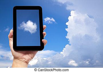 fond, tablette, main, pc, tenue, nuage