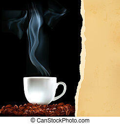 fond, tasse, café