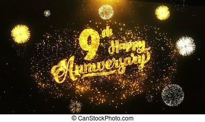 fond, texte, salutation, anniversaire, voeux, 9ème, invitation, célébration, heureux