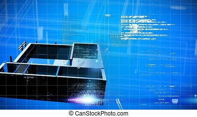 fond, traitement, données, 3d, numérique, foyer bleu, rotation, contre, animation, modèle