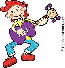 fond, vecteur, adolescent, isolé, guitare, illustration, objet, jeux, blanc