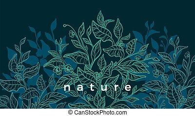 fond, vecteur, arbre, illustration, art, nature, thé