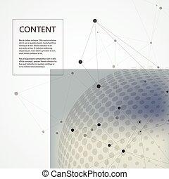 fond, vecteur, halftone, relier, conception, cercle, molécule