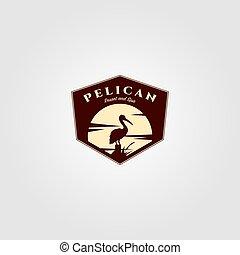 fond, vecteur, illustration, oiseau, logo, conception, pélican, soleil, vendange
