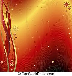 fond, (vector), noël, doré, rouges