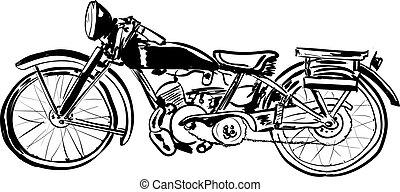 fond, vieux, blanc, isolé, vélo
