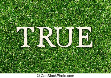 fond, vrai, herbe verte, mot, lettre, bois